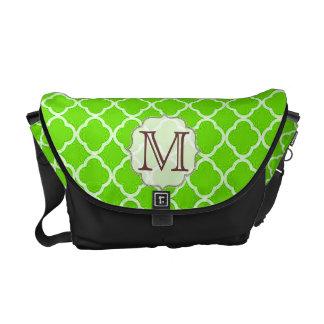 Lime Green Quarterfoil Monogram Bag Tote Purse Courier Bag