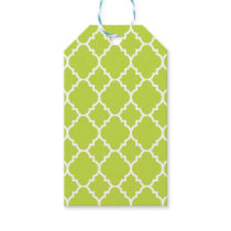 Lime Green Quatrefoil Moroccan Pattern Gift Tags