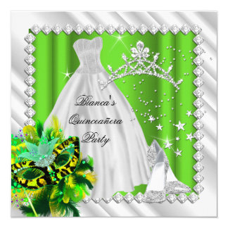 Lime Green Quinceanera 15th Masquerade Party Card