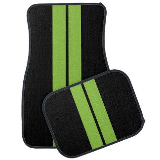 Lime Green Race Stripes   DIY Background Color Floor Mat