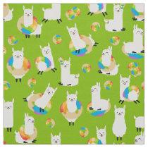 Lime Green Rainbow Donut Llama Kids Fabric