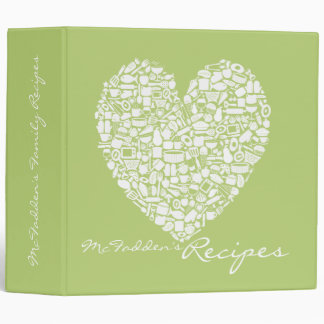 Lime Green Recipe Personalized Name Binder