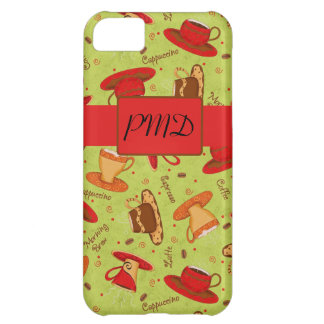 Lime Green & Red Coffee Cups Pattern Monogram Cover For iPhone 5C