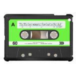 Lime Green Retro Cassette Tape Personalized iPad Mini Case