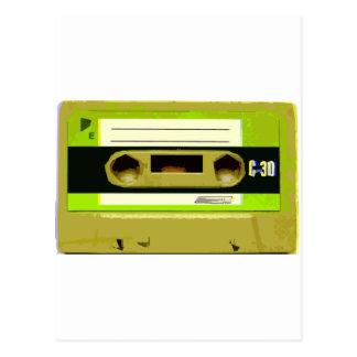 Lime Green Retro Cassette Tape Postcard