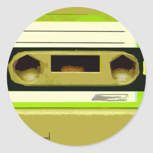Lime Green Retro Cassette Tape Stickers