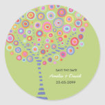 Lime Green Retro Circle Tree Save the Date Stickers