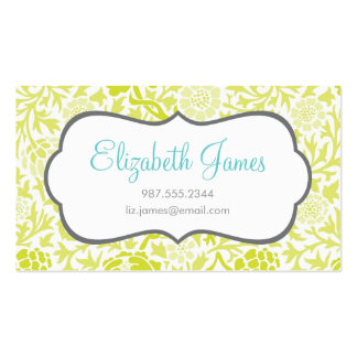 Lime Green Retro Floral Damask Double-Sided Standard Business Cards (Pack Of 100)