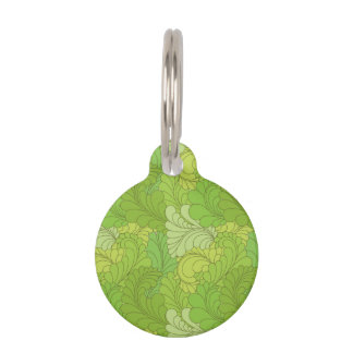 Lime Green Retro Floral Paisley Feathers Pet ID Tag