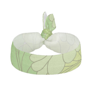 Lime Green Retro Floral Paisley Feathers Elastic Hair Ties
