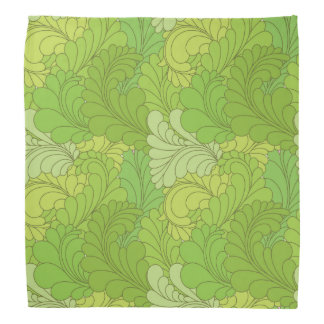 Lime Green Retro Floral Paisley Feathers Bandanna