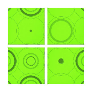 Lime, Green Retro Pop Squares Abstract Art Canvas Print