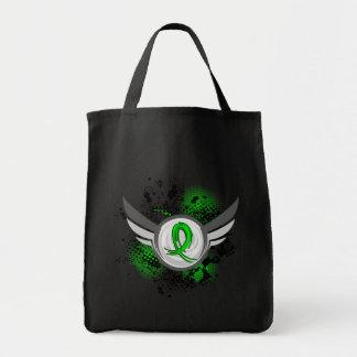 Lime Green Ribbon And Wings Lyme Disease Tote Bag