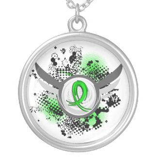 Lime Green Ribbon And Wings Lymphoma Round Pendant Necklace