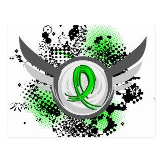 Lime Green Ribbon And Wings Non-Hodgkin's Lymphoma Postcard