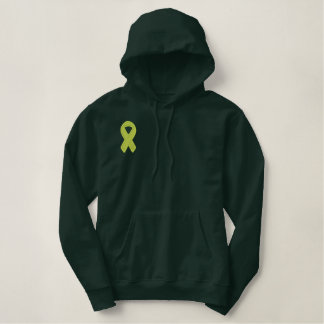 Lime Green Ribbon Awareness Embroidered Hoodie