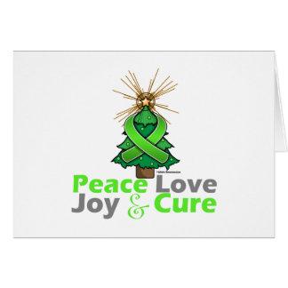 Lime Green Ribbon Christmas Peace Love, Joy & Cure Greeting Card