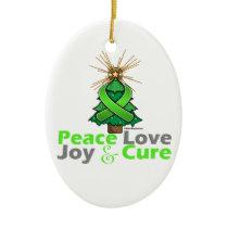 Lime Green Ribbon Christmas Peace Love, Joy & Cure Ceramic Ornament