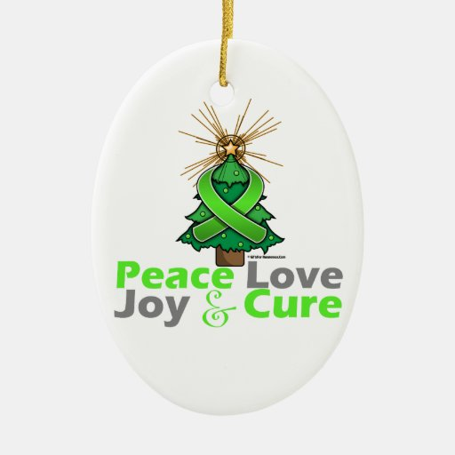 Lime Green Ribbon Christmas Peace Love, Joy & Cure Ornament