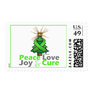 Lime Green Ribbon Christmas Peace Love, Joy & Cure Stamps