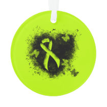 Lime Green Ribbon Grunge Heart Ornament