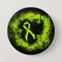Lime Green Ribbon Grunge Heart Pinback Button
