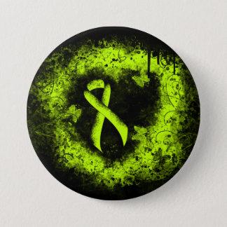 Lime Green Ribbon Grunge Heart Pinback Button