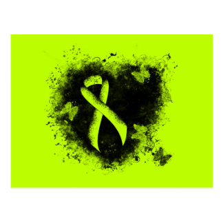 Lime Green Ribbon Grunge Heart Postcard