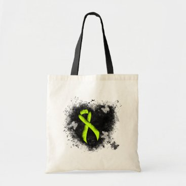 Valentines Themed Lime Green Ribbon Grunge Heart Tote Bag