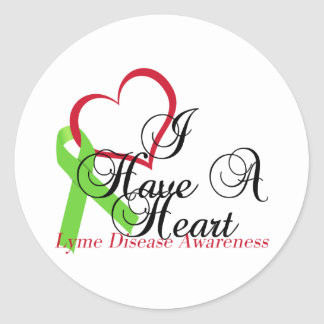 Lime Green Ribbon Lyme Disease Awareness Classic Round Sticker