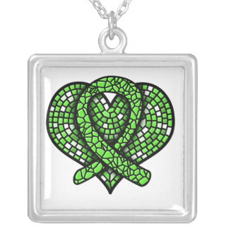 Lime Green Ribbon Mosaic Heart Square Pendant Necklace