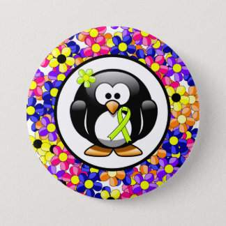 Lime Green Ribbon Penguin Pinback Button