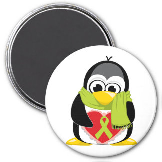 Lime Green Ribbon Penguin Scarf 3 Inch Round Magnet