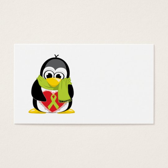 Lime Green Ribbon Penguin Scarf Business Card