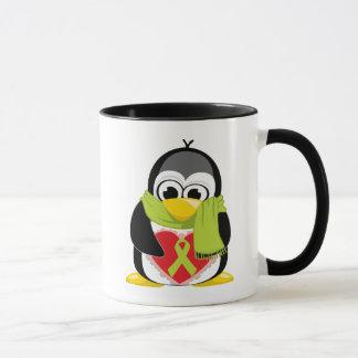 Lime Green Ribbon Penguin Scarf Mug