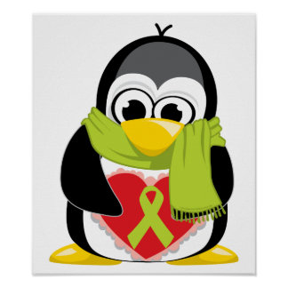 Lime Green Ribbon Penguin Scarf Poster