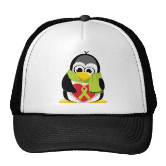 Lime Green Ribbon Penguin Scarf Trucker Hat