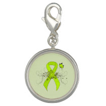 Lime Green Ribbon with Butterfly Charm