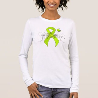 Lime Green Ribbon with Butterfly Long Sleeve T-Shirt