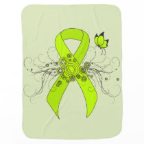 Lime Green Ribbon with Butterfly Swaddle Blanket