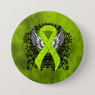 Lime Green Ribbon with Wings Pinback Button
