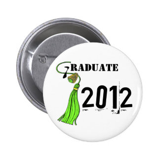 Lime Green Ring And Tassel Graduate Pinback Button