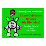 Lime Green Robot Birthday Party Invitations