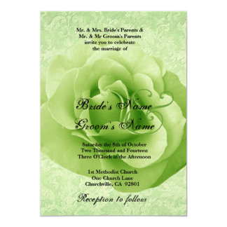 LIME GREEN Rose and Damask Wedding 5x7 Paper Invitation Card