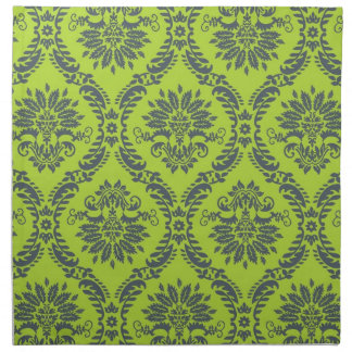 lime green royal damask pattern cloth napkin