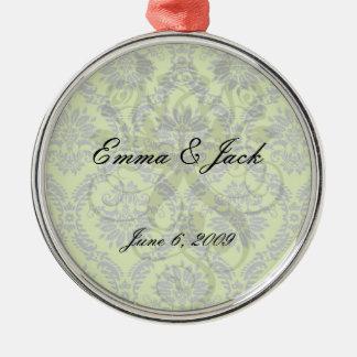 lime green royal damask pattern metal ornament