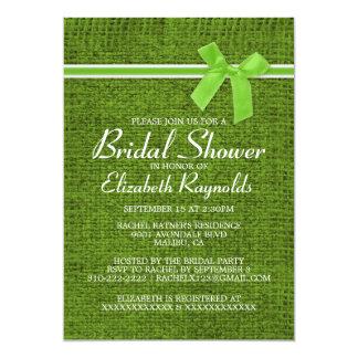 Lime Green Rustic Burlap Bridal Shower Invitations