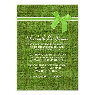Lime Green Rustic Burlap Wedding Invitations