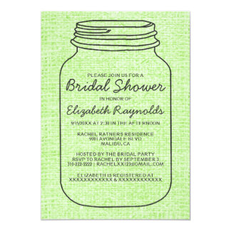 Lime Green Rustic Mason Jar Bridal Shower Invites
