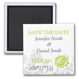 Lime Green Save The Dates 2 Inch Square Magnet